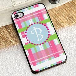 Preppy Plaid iPhone Case with Black Trim