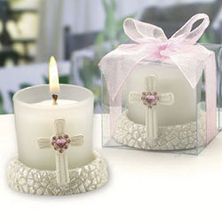 Pink Heart Accent Cross Candle Holder Favor
