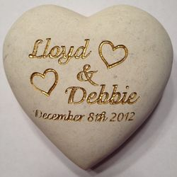"Custom Engraved 4"" Heart Shaped Stone"