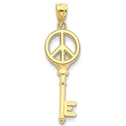 14K Gold Peace Sign Key Charm Pendant