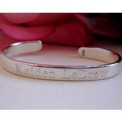 Engraved Sterling Silver Newborn Bracelet Cuff