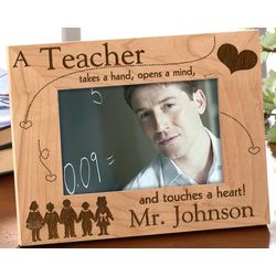 Engraved Wood Picture Frame for Teacher