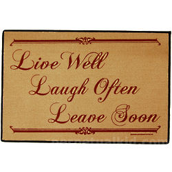 Live Well Laugh Often Leave Soon Doormat