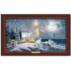 Lighthouse Christmas Art with Fiber Optic Lights