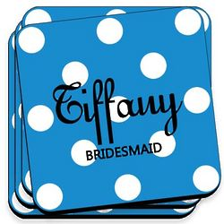 Personalized Blue Polka Dot Coaster Set