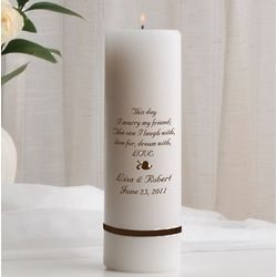 The One I Love Personalized Name and Date Wedding Unity Candle