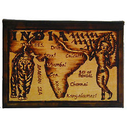 India Map Leather Photo Album in Natural