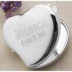Personalized Reflections Heart Mirror Compact
