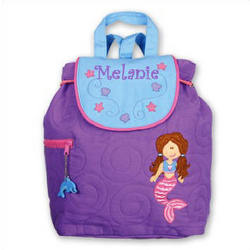 Personalized Quilted Purple Mermaid Backpack