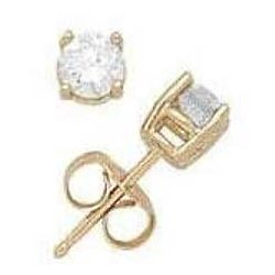 1/4ct Round Diamond Solitaire Earrings in 14k Yellow Gold