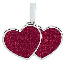 Personalized Sparkling Red and Silver Double Heart Ornament