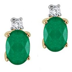 Oval Emerald Drop and Diamond Earrings