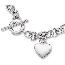 14k White Gold Heavy Wide Chain Toggle Heart Necklace