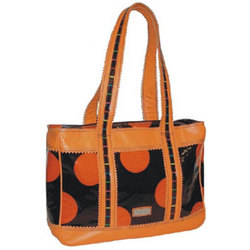 Free Spirit Leather Print Tote Bubbles Orange