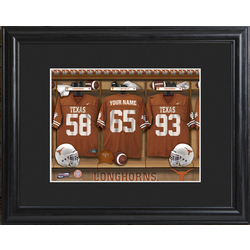 Personalized College Football Locker Room Print with Wood Frame