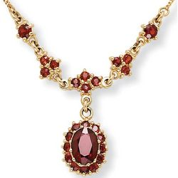 10k Oval Garnet Pendant Necklace