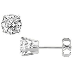 Solitaire Stud 14 Karat White Gold Diamond Earrings