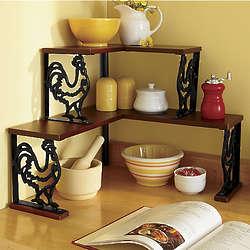 Cast Iron Rooster Corner Shelf
