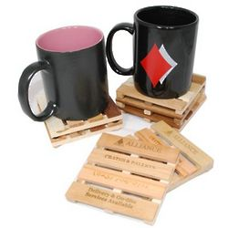 Personalized Wood Cargo Pallet Coasters