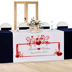 Personalized Heart Frame Wedding Table Runner