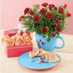 Lovebird and Mini Roses Gift Set