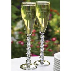 Faux Diamond Stemmed Champagne Flutes