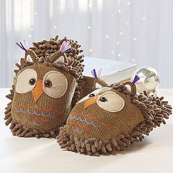 Fuzzy Friends Owl Slippers