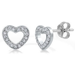 Sterling Silver and Cubic Zirconia Small Open Heart Stud Earrings