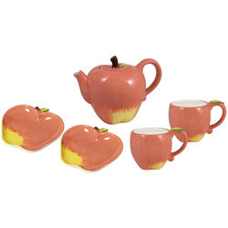Sculpted Apple Teapot with Mugs and Plates