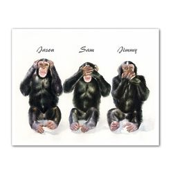 Monkey See, Monkey Do III Personalized Art Print