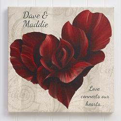 Personalized Romantic Flower Petal Heart Large Canvas Print