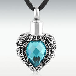 Aquamarine Angels Near Heart Stainless Steel Cremation Pendant