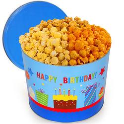 2 Gallons of Popcorn in Happy Birthday Tin