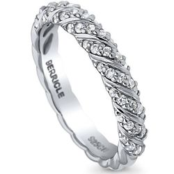 Cubic Zirconia & Silver Cable Woven Half Eternity Ring