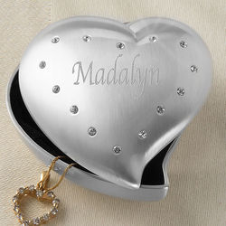 Personalized Shining Heart Crystal Jeweled Box