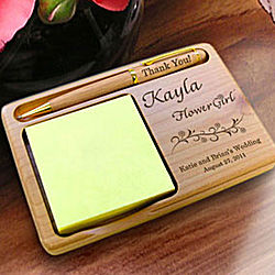 Personalized Flower Girl Wooden Notepad & Pen Holder