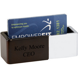 Personalized Polished Metal and Wood Business Card Holder