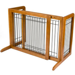 Large Freestanding Wood Pet Gate