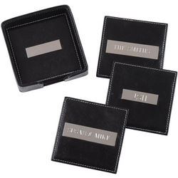 """Square Leather Coasters with 2"""" Engraving Plate"""