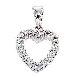 14k Diamond White Gold Classic Open Heart Pendant