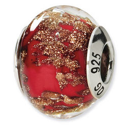 Red and Gold Murano Glass and Sterling Silver Bead