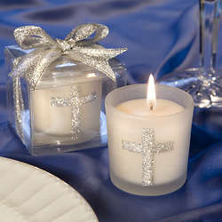 Silver Cross Glass Candle Holder