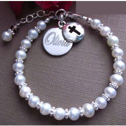 Personalized Pearl and Sterling Silver Bracelet