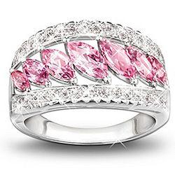 Starlight Elegance Pink Topaz and Diamond Ring