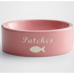 Personalized Pink Fish Cat Food Bowl