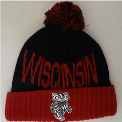 Wisconsin Bucky Badger Men's Cuffed Knit Hat with Pom