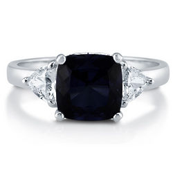 Sapphire and Cubic Zirconia 3 Stone Sterling Silver Ring