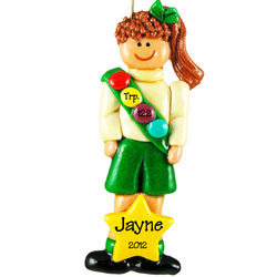 Personalized Brunette Girl Scout Handmade Dough Ornament