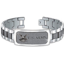Army Strong Stainless Steel Personalized Men's ID Bracelet