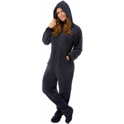 Navy Plush Hoodie Footed Pajamas
